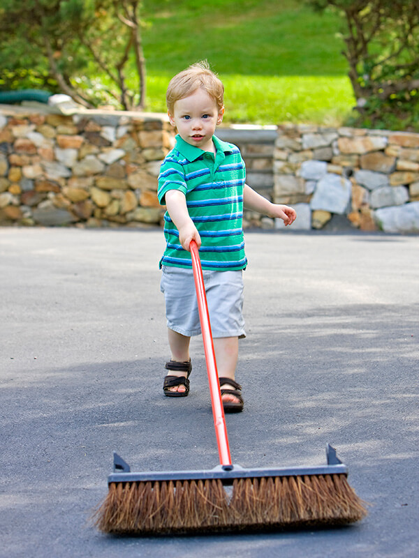 Concrete Driveway Cleaning using Cleaning Brush